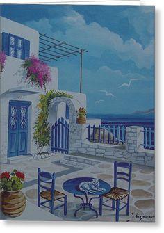 Cat On Table Greece by Hatzistamoulis – Malerei Small Canvas Art, Diy Canvas Art, Acrylic Painting Canvas, Greece Drawing, Greece Painting, Landscape Art, Landscape Paintings, Ocean Wave Painting, Greece Art