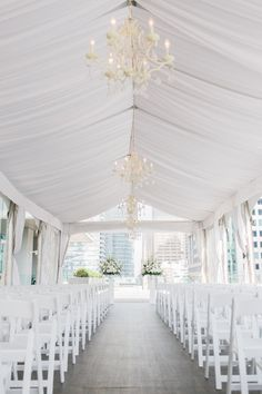 White tented rooftop wedding ceremony: http://www.stylemepretty.com/canada-weddings/ontario/toronto/2016/08/11/romantic-rooftop-wedding-at-malaparte/ Photography: Rhythm - http://rhythm-photography.com/