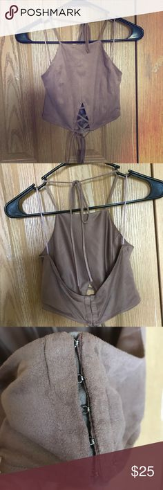 WINDSOR / MISGUIDED Brown Suede Crop Top Brown sueded low back crop top with clipped back and front ties! Excellent condition, boho style, Coachella cutie. Urban Outfitters Tops Crop Tops