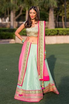 Pink and light blue lehenga