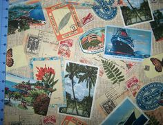 Hemingway Postcards From Key West Fabric By by CutiePieCraftSupply, $11.00