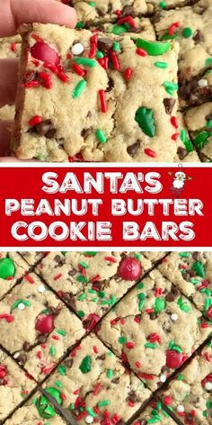 Santa's cookie bars are perfect for Christmas Eve on the cookie plate! A soft baked peanut butter cookie bar with oats, chocolate, peanut butter m&m's. Peanut Butter M&ms, Peanut Butter Cookie Bars, Oatmeal Cookie Bars, Chocolate Cookie Bars, Oatmeal Cookie Recipes, Peanut Butter Recipes, Christmas Snacks, Christmas Cooking, Christmas Eve
