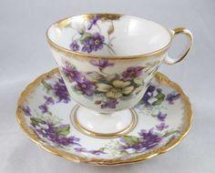 japanese tea cups and saucers | Royal Sealy China Violets Tea Cup & Saucer Set Japan