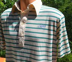 vintage 70s polo golf shirt KIAWAH stripe preppy by skippyhaha