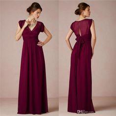 Wholesale Burgundy Bridesmaid Dress - Buy Cheap A-Line Burgundy Chiffon 2014 Bridesmaid Dresses With V Nevk Short Sleeve Bow Sash Floor-Length Prom Dresses Evening Gowns, $98.7 | DHgate
