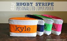 """That's My Letter: """"R"""" is for Rugby Stripe Pouch, personalized zipper pouch"""