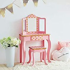 10 Best Little Girls Vanity Table Set Price and Review Girls Vanity Table, Kids Vanity Set, Vanity Set With Mirror, Kids Makeup Vanity, Girls Makeup, Pink Und Gold, Rose Gold Pink, White Gold, Gold Polka Dots