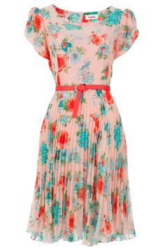 adorable vintage inspired floral chiffon dress.
