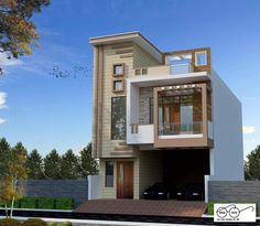 front elevation designs for duplex houses in india Bungalow House Design, House Front Design, Small House Design, Modern House Design, Dream House Plans, Modern House Plans, Small House Plans, Front Elevation Designs, House Elevation