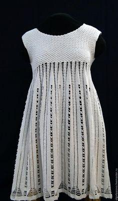 Купить Белое летнее платье - белый, однотонный, вязаное платье крючком, ручная работа