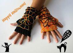 Halloween Fingerless Gloves / Orange  Black /  by Phizzwizards