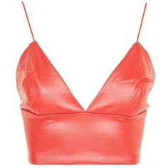 **Pussy Cat Red Faux Leather Crop Top by WYLDR (270 DKK) via Polyvore featuring tops, crop top, shirts, cut-out crop tops, faux leather shirt, vegan shirts, shirt top and cropped tops