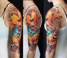 tattoo flower butterfly sleeve - Google Search