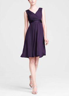 David's Bridal  Sleeveless Jersey Dress with Charmeuse Waist Band Style E44239