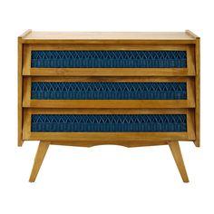 Ladekast, vintage stijl, hout en rotan, turquoise, breedte 91 cm