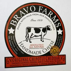 company logo in round and square space for specific cheese name