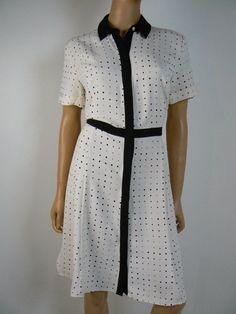 $130 Ann Taylor Ivory Polka Dot Black Trim Button Front Shirt Dress 6 NEW A844 #AnnTaylor #ShirtDress #Cocktail