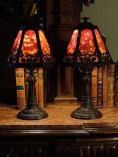 Primo Pair Art Nouveau Slag Glass Boudoir Lamps
