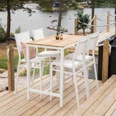 Fint og stilrent barbord til haven i teak og hvid aluminium Outdoor Furniture Sets, Outdoor Decor, Home Decor, Interior Design, Home Interior Design, Home Decoration, Decoration Home, Interior Decorating