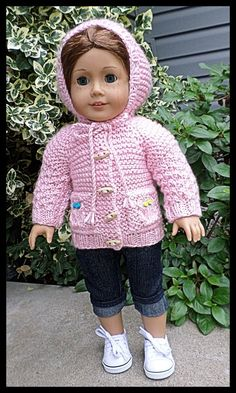 American Girl Doll Clothes : Hoodie / hooded jacket / hooded sweater knitted and designed by AUSSIEKNITWIT, $25.00