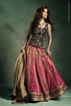 Fashion, Beauty etc.. : Vivid pink lehenga paired with blue corset - JADE by Monica & Karishma