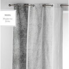 Hotové dekoračné závesy v sivej farbe Curtains, Shower, Prints, Home Decor, Trendy Tree, Rain Shower Heads, Blinds, Decoration Home, Room Decor