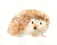 HEDGEHOG  Original watercolor painting 10X8inch by dimdi on Etsy, $35.00
