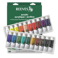 Set of 20 Colors — This set contains 20 colors in 22 ml tubes, including Titanium White, Medium Yellow, Brilliant Red, Crimson, Phthalo Blue, Light Green, Phthalo Green, Yellow Ochre, Burnt Sienna, Mars Black, Lemon Yellow, Orange, Flesh Tint, Vermillion, Violet, Blue Lake, Ultramarine, Viridian Hue, Burnt Umber, and Payne's Gray.