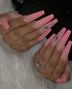 Acrylic Nail Designs Coffin, Long Square Acrylic Nails, French Tip Acrylic Nails, Remove Acrylic Nails, Clear Acrylic Nails, Bling Acrylic Nails, Acrylic Nails Coffin Short, Rhinestone Nails, Pastel Nails