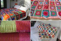 Manta a crochet de cuadrados chicos y grandes de color pastel y de colores vivos. www.puertaalsur.com