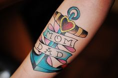mom dad vintage style anchor tattoo