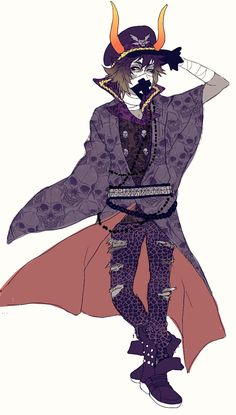 Gamzee Makara from Homestuck, in an outfit created by another AU artist. Art not mine, source unknown.