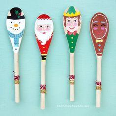 Handmade Christmas Decorations Christmas by RachelCorcoranStudio Crafts For Boys, Christmas Crafts For Kids, Christmas Projects, Easter Crafts, Christmas Fun, Spoon Art, Wood Spoon, Wooden Spoon Crafts, Spoon Ornaments