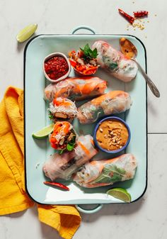 DELICIOUS Crispy Shallot Spring Rolls with Seared Tofu! 10 ingredients, BIG flavor, crunchy texture, SO satisfying! #tofu #plantbased #springrolls #glutenfree #minimalistbaker #recipe Tofu Scramble, Fresh Vegetables, Veggies, How To Press Tofu, Baker Recipes, Vegan Recipes, Vegan Ideas, Vegan Food, Recipes