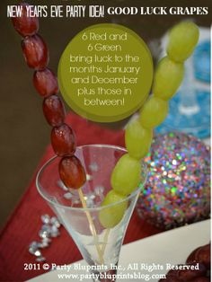 GOOD LUCK GRAPES: Add a conversation starter to your New Year's Eve Bash and bring Good Luck to your guest for 2014! #plantoparty