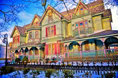 Victorian architecture in the snow. Winter, Cape May Point, Ocean City, Jersey Cape, Cape May County, New Jersey