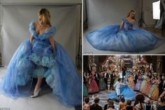 Yes, Lily James, you SHALL go to the ball! Swooning Cinderella fans say it\'s the most breathtaking cinema gown ever. Now its fairy godmother designer reveals how she wove her magic.  I knew the dress that transforms Cinderella into a beautiful princess needed to be big – very big. It had to be a showstopper. Sadly, there was no real-life fairy godmother to conjure it up. In fact, it took a team of 20 people 4,000 hours to create eight versions of this very special gown.