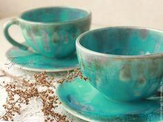 Купить Керамические чашки - бирюзовый, сиреневый, керамика ручной работы, авторская ручная работа