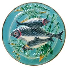 Rare Wedgwood Majolica Fish plate KL+