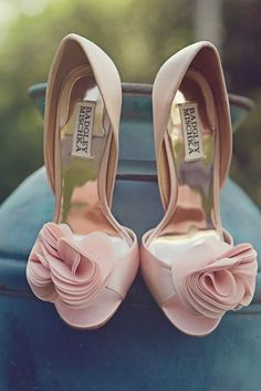 pink ruffles wedding shoes