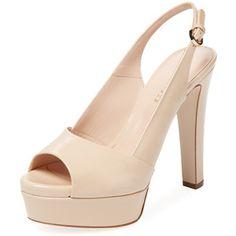 Sergio Rossi Women's Platform Peep-Toe Pump - Cream/Tan - Size 40