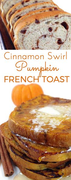 Delicious Cinnamon Swirl Pumpkin French Toast w/butter and maple syrup. Pepperidge Farm Cinnamon Swirl bread dipped in pumpkin spice batter. Welcome fall!