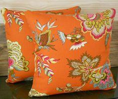 Pair of orange throw pillows, multi color orange floral decorative pillow covers