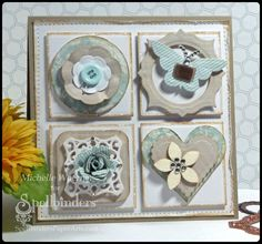 Rounded Squares Nestabilities,  Standard Circles LG, Standard Circles SM, Classic Squares LG, Blossom, Classic Scalloped Heart,  Labels Thirty-Two, Captivating Squares Decorative Elements, Bitty Blossoms, and  Butterfly Corner - all Spellbinders