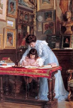 The Writing Lesson, Georges Claude. French, ( 1854 - 1922 )