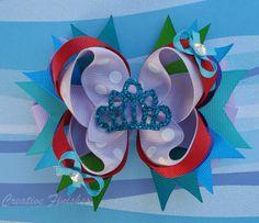Ariel Hair Bow Princess Rhinestone Tiara by CreativeFinishesBows, $9.00