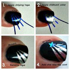 33 Cool Nail Art Ideas - Shooting Star Nail Design Tutorial
