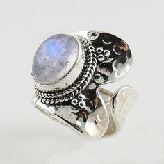 Moonstone Two Tone Spiral Sterling Silver Adjustable Ring – Keja Designs Jewelry
