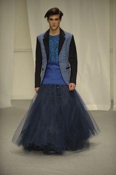 Jamie Elwood's Identity-Effeminate Future spring 2015 collection, a MA Fashion Design Technology Menswear catwalk show.