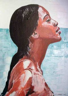 portrait de Naomi Campbell à la peinture acrylique sur toile